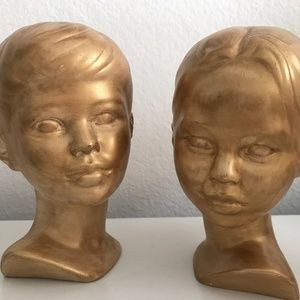 Vintage Gold Ceramic Busts of Boy & Girl - A Pair